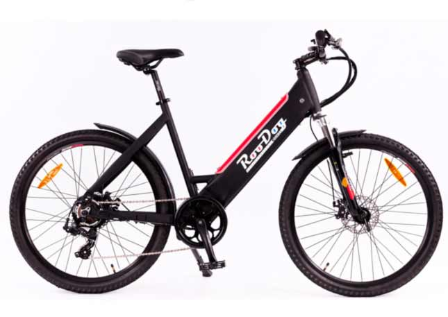 Roodog Avatar ST a great looking eBike with the battery hidden in the frame shown here in black