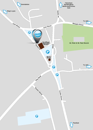 area map showing where Bike Electric is in Swaffham, Norfolk PE37 7AB