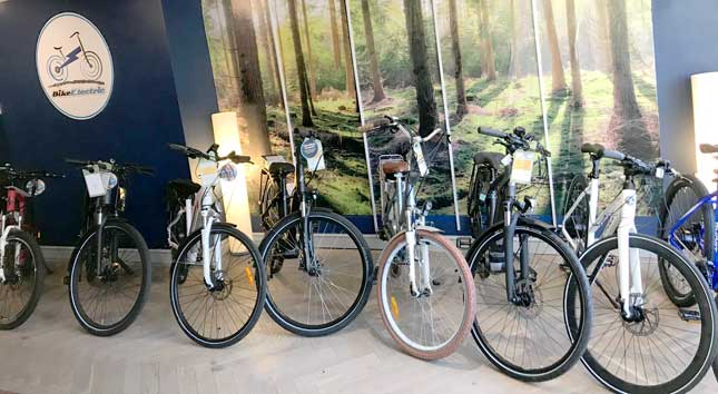 swafham showroom of Bike Electric showing eBikes lined up